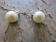 14 KT White Gold & Paspaley South Sea Pearl Earrings Omega Back.......NEW 13 MM