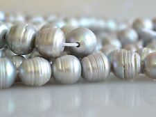 12 to 14 mm Large Hole Ringed Silver Gray Freshwater Pearl Beads 2mm Hole (#157)