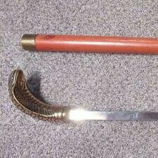 Vintage Souvenir Hand Carved Cane Walking stick metal knob in the shape snake