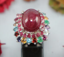 Natural Only Heated Ruby Ring Women 925 Silver Oval Red Multi Colors Gemstone