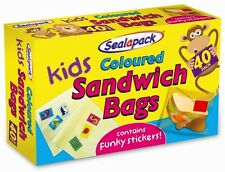 NEW KIDS COLOURED SANDWICH BAGS SEAL-A-PACK WITH KIDS STICKERS PACK OF 30