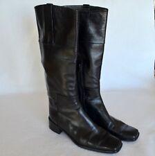 Stuart Weitzman Riding Style Boots Women 10 B Black Leather Knee High Pull On