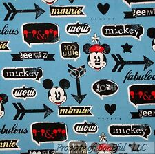 BonEful Fabric Cotton Quilt Blue Red White Boy Mickey Mouse Disney USA Dot SCRAP