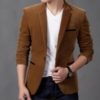 Fashion Men's Jacket Suit Coat Button Slim Fit Velvet One Blazer Stylish  Casual