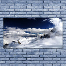 Print on Glass Wall art 140x70 Picture Image Mountain Clouds Landscape