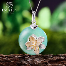Exquisite Lotus Flowers Natural Jade Stone Pendant 925 Silver Jewelry for Women