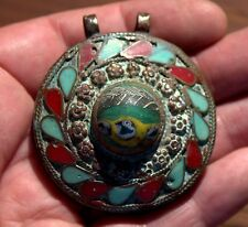 Very Old Ornate Bronze Pendant With Roman Glass & Turquoise & Coral Inlay