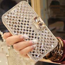 White Bling Bowknot Crystal Diamond Wallet Flip Case For Various Phones