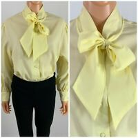 Vintage 60s Yellow Pussy Bow Blouse Balloon Sleeve Gauzy Crepe Top Glenbrooke L