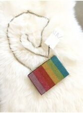 Zara Multicoloured Bejewelled Rainbow Minaudiere Clutch Shoulder Bag # H06