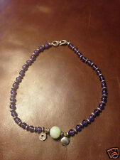 Amethyst Necklace w/Silver Beads/Green Jade Stone & Citrine Stone-MSRP:  $115.00