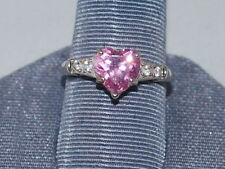 10k White gold ring with pink and white cz diamonds