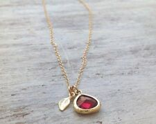 Gold Filled  necklace 14k Pendant red RUBY STONE Charm Length 17