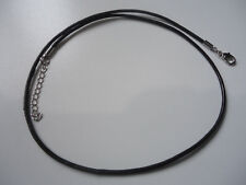 Real Leather Cord Necklace with Silver Alloy Chain Clasps 45cm (EB-2)