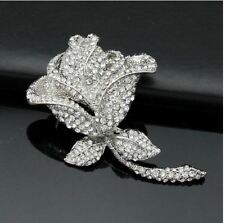 LARGE VINTAGE LOOK ROSE ENCRUSTED DIAMANTE RHINESTONE CRYSTAL BROOCH PIN