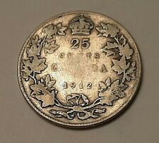 """1912 Canada 25 Cents (92.5% Silver) Coin - King George V   """"STERLING SILVER"""""""