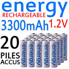 20 PILES ACCUS RECHARGEABLE AA ENERGY NI-MH 3300mAh 1.2V LR06 LR6 R06 R6 ACCU