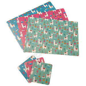 Set of 4 Llama Placemats & Coasters Plastic Dining Table Mats Kids Dinner Gift
