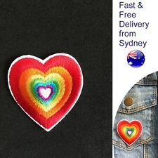 Rainbow heart iron on patch pounding hearts love embroidery patches transfer