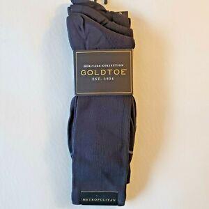 Mens Gold Toe Navy Blue Crew Metropolitan Dress Socks 3 Pack  6-12 AQUAfx