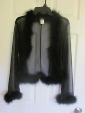 SABORA Black SHEER Chiffon fluffy MARIBOU Feather WRAP Cardigan JACKET TOP M