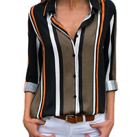 Women Ladies Casual Cuffed Long Sleeve V-Neck Button Up Striped Shirt Blouse Top