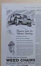 1929 magazine ad for Weed Tire Chains - Prepare for Winter Driving for safety