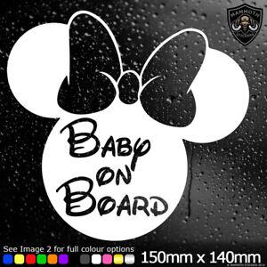 Baby On Board Sticker Minnie Mouse Disney Vinyl Decal Cute Car Window Bumper