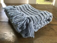 Blue Handknit Long Scarf, Made In USA