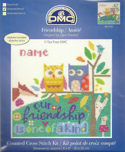 DMC Owls Friendship Sampler Counted Cross Stitch Kit Personalise BRAND NEW!