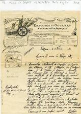 Paris X ème & Dépt 18- Belle Entête Association Employés & Ouvriers des CDF 1920