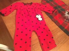 Girls 12 month one piece fleece pajama Carters red/black dot Snapped free ship
