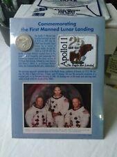 Apollo 11 25th Anniversary Commemorative Plaque Medallion Coin, Photo, Patch