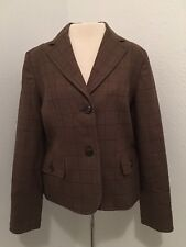 Pendleton Women's Wool Jacket Blazer Size 10 Brown Plaid