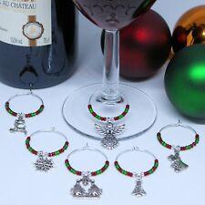 Natale Bicchiere di vino charm set di 6, Albero di Natale, Renna, Angelo, calza