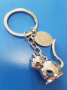 Engraved Cat 3d Metal Keyring, personalised FREE. Gift for Mum Sister Birthday