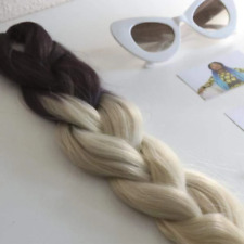 CATFACE HAIR BROWN BLONDE 2 TONE OMBRE JUMBO BRAIDING EXTENSIONS