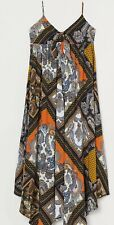 H&m Paisley Patterned Dress Midi Size 16 Dark Blue Multi New With Tag