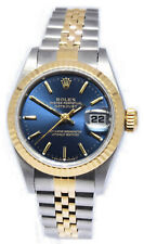 Rolex Datejust 18k Yellow Gold & Steel Blue Dial 26mm Watch Box/Papers T  69173