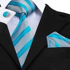 Men's Tie Silk Classic Necktie Set Blue Striped Novelty Jacquard Wedding Party