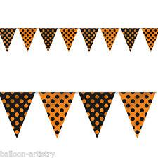 12ft Halloween Black Orange Polka Dots Pennant Flag Banner Bunting Decoration