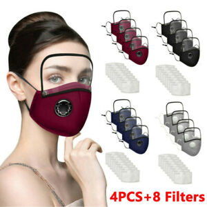 4Pcs Adults Washable Reusable Face Mask With 8 Filter And Detachable Eye Shield