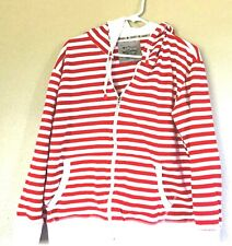 Galaxy by Harvic Red & White Striped Full Zipper Zip Up Hoodie Size XL X-Large
