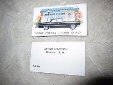 Vtg Arthur Bergeron car dealership business cards, black 62 Dodge Polara sedan