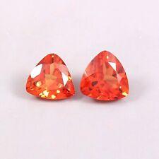 Natural Ceylon Orange Fanta Sapphire Loose Trillion Gemstone Cut Matched Pair7x7