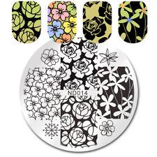 Sello de Arte en Uñas Imagen Placas Manicura Plantilla Hermosa Flor tema de la plantilla