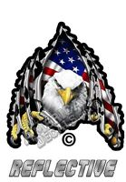 """American Flag Eagle Ripping Metal Reflective Decal Sticker Decal 5"""" Auto decal"""