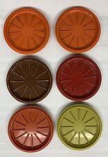 Vintage Tupperware Harvest Colors #1313 Coffee Mug Coaster Lids Only Set of 6