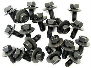 Body Bolts For Nissan- M6-1.0 x 16mm Long- 10mm Hex- 17mm Washer- 20 bolts- #180