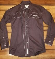 Larry Mahan Mens Shirt Brewery Ommegang Western Pearl Snap Size L Long Sleeve